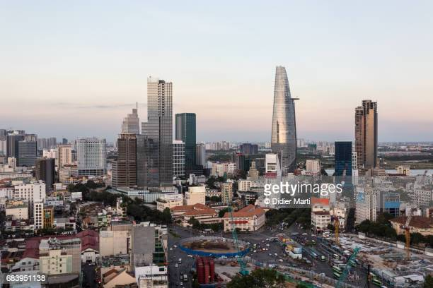 aerial view of ho chi minh downtown in vietnam - emerging markets stock photos and pictures