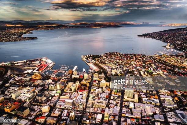 aerial view of hobart - hobart tasmania stock pictures, royalty-free photos & images