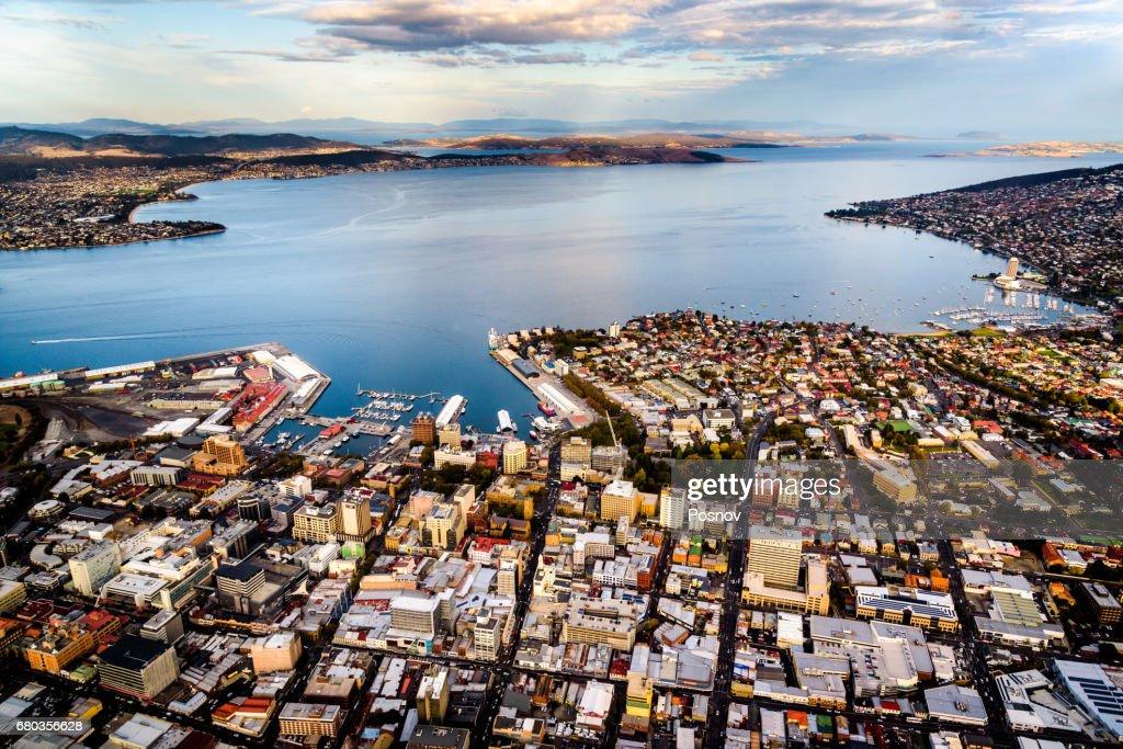 Aerial View of Hobart, Tasmania : Stock Photo