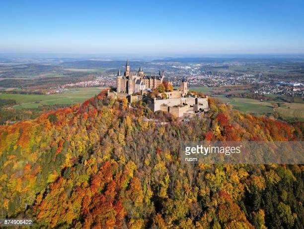 aerial view of hohenzollern castle at atumn. - baden württemberg stock pictures, royalty-free photos & images