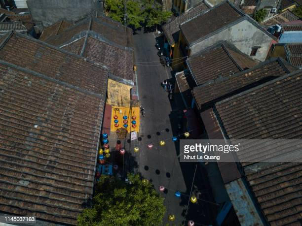 aerial view of hoi an old town or hoian ancient town - {{asset.href}} stock pictures, royalty-free photos & images