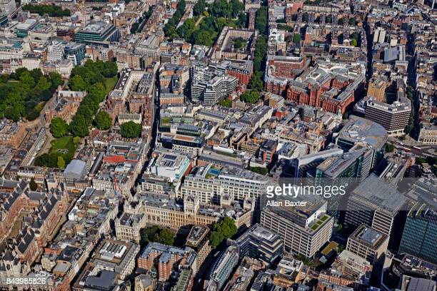 aerial view of holborn in the city of london - holborn stock pictures, royalty-free photos & images