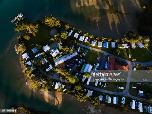 Aerial view of Holiday Park, Stillwater, Auckland, New Zealand.