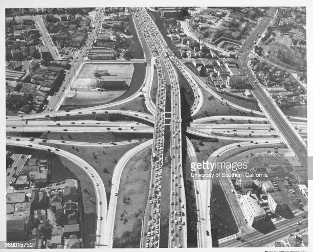 Aerial view of Hollywood Freeway crossing over the Harbor Freeway / Pasadena Freeway downtown, Los Angeles, California, early to mid twentieth...