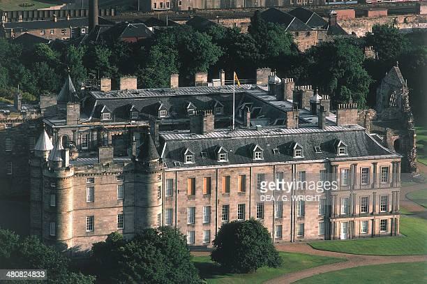 Aerial view of Holyrood Palace or Palace of Holyroodhouse Edinburgh Scotland United Kingdom