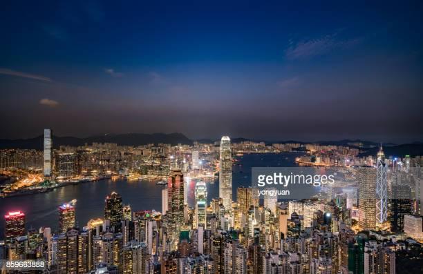 Aerial View of Hong Kong at Night