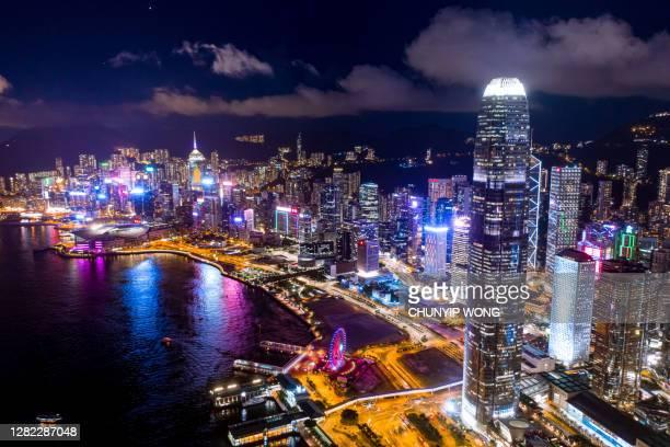 aerial view of hong kong city - hong kong stock pictures, royalty-free photos & images
