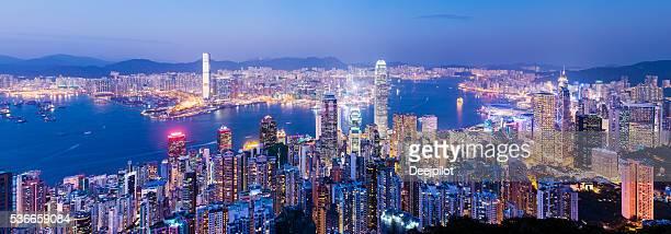 Aerial view of Hong Kong City Skyline at Sunset China