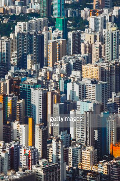 Aerial view of Hong Kong cityscape and skyline on a clear sunny day