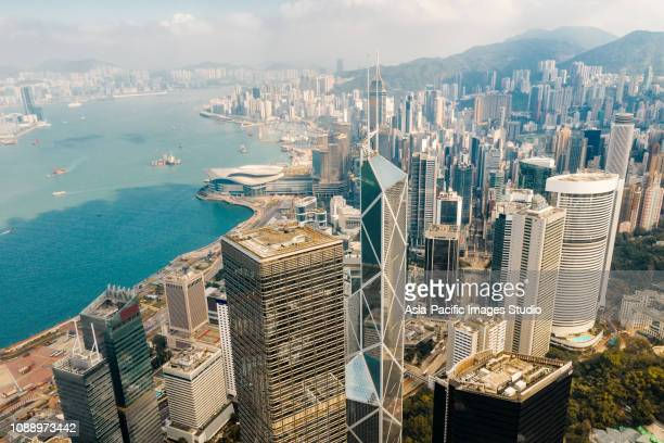 aerial view of hong kong financial district - 2019 stock pictures, royalty-free photos & images