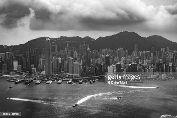 Aerial view of Hong Kong island Central district