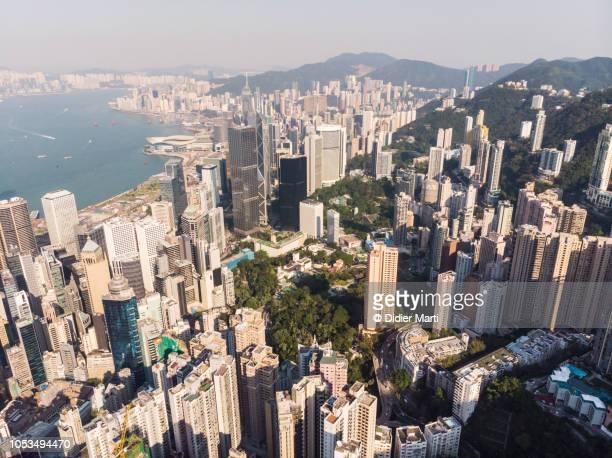 Aerial view of Hong Kong island