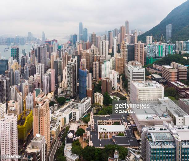 Aerial view of Hong Kong island skyline