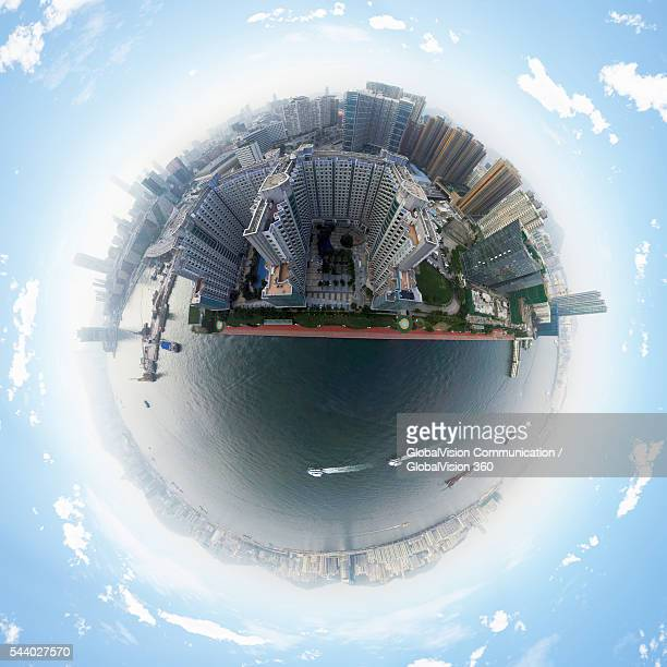360° aerial view of hong kong - little planet format stock photos and pictures