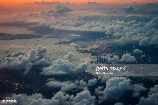 aerial view of hong kong - kowloon peninsula stock pictures, royalty-free photos & images