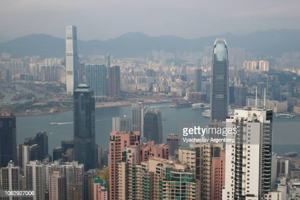 aerial view of hong kong skyline and victoria harbor - argenberg stock-fotos und bilder