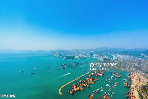 Aerial view of Hong Kong skyline, Victoria Harbour