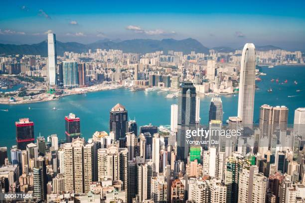 Aerial View of Hong Kong Skyscapers