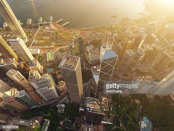 Aerial view of Hong Kong Skyscraper in sunset