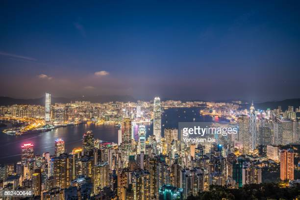 Aerial View of Hong Kong Skyscrapers at Night