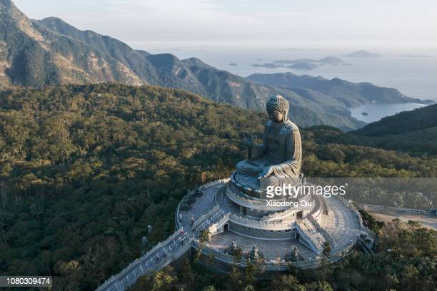 aerial view of hong kong tian tan buddha at dusk - buddha foto e immagini stock
