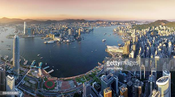 Aerial view of Hong Kong, Victoria harbour in sunset