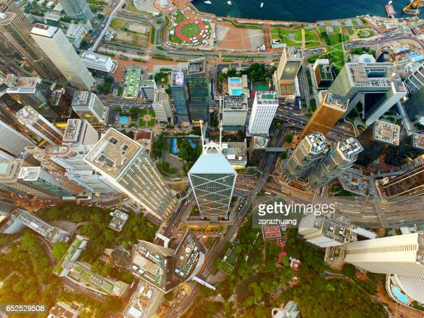 Aerial View of Hong Kong's Central District Skyscrapers