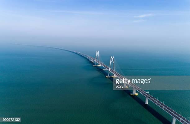 Aerial view of Hong KongZhuhaiMacau Bridge on June 11 2018 in Zhuhai Guangdong Province of China