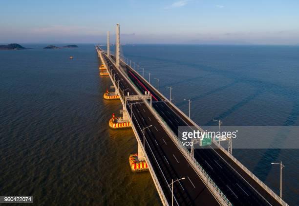 Aerial view of Hong KongZhuhaiMacau Bridge on May 19 2018 in Zhuhai Guangdong Province of China