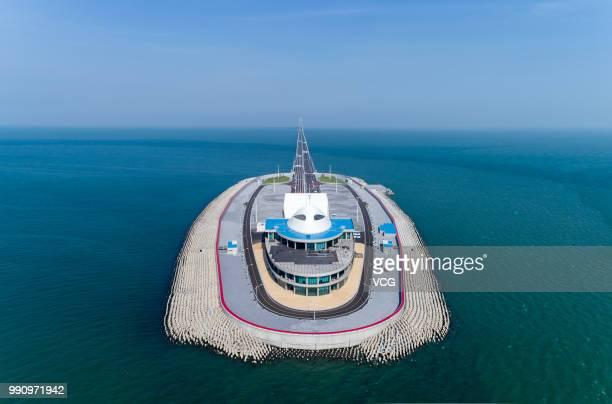 Aerial view of Hong KongZhuhaiMacau Bridge West Artificial Island on June 11 2018 in Zhuhai Guangdong Province of China