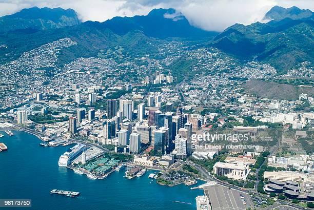 Aerial view of Honolulu and Waikiki, Oahu, Hawaii, United States of America, Pacific, North America