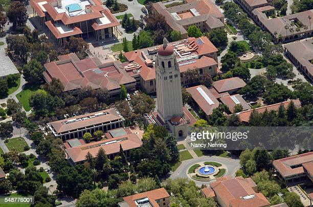 Aerial view of Hoover Tower and the Stanford University campus Stanford California USA Traditional red tile roofs May 11 2008