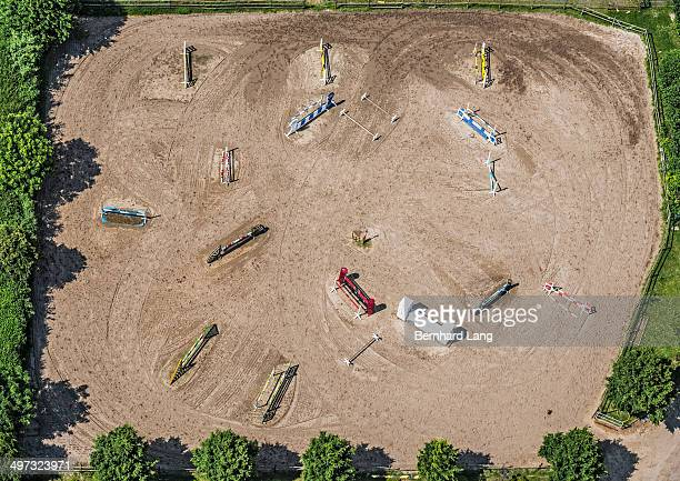 aerial view of horse show-jumping course - equestrian event stock pictures, royalty-free photos & images