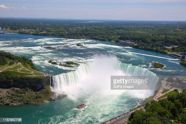 Aerial view of Horseshoe Falls of the Niagara Falls is seen on a hot and sunny day. Niagara Falls is the collective name for three waterfalls - a...