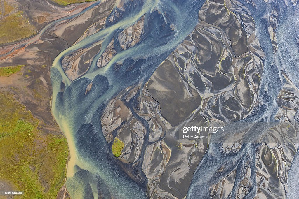 Aerial view of Hosa river coloured by glacial melt, South Wales Iceland