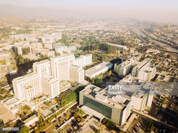 aerial view of hospital - helipad stock photos and pictures