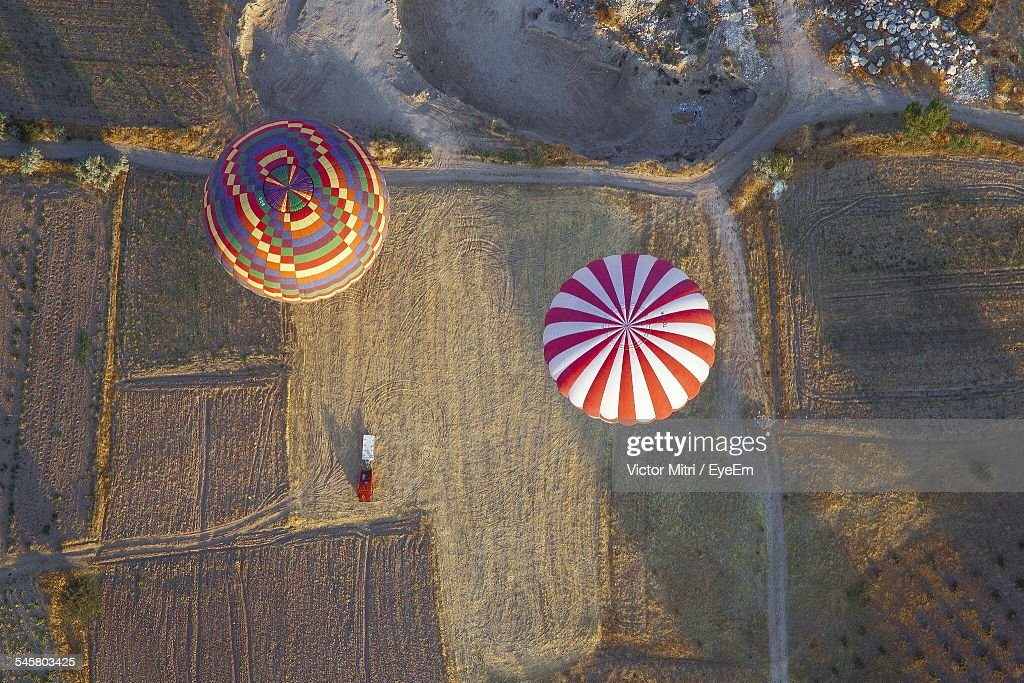 Aerial View Of Hot Air Balloons Over Landscape : Stock Photo