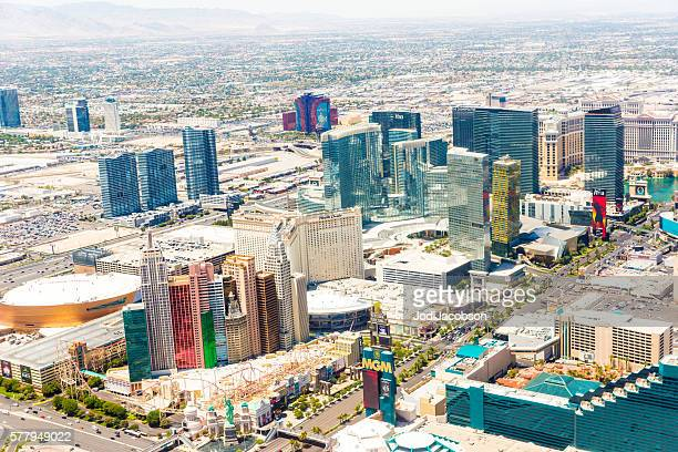 Aerial view of hotels and casinos in Las Vegas, Nevada