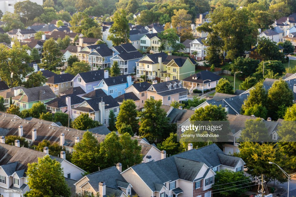 Aerial view of house roofs in suburban neighborhood : Stock Photo