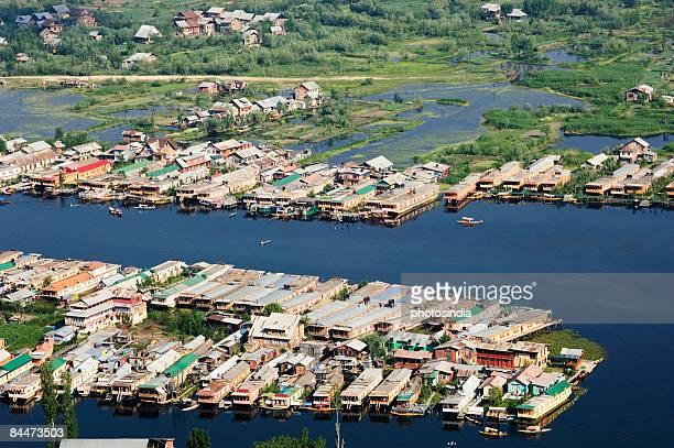 Aerial view of houseboats in a lake, Dal Lake, Srinagar, Jammu and Kashmir, India