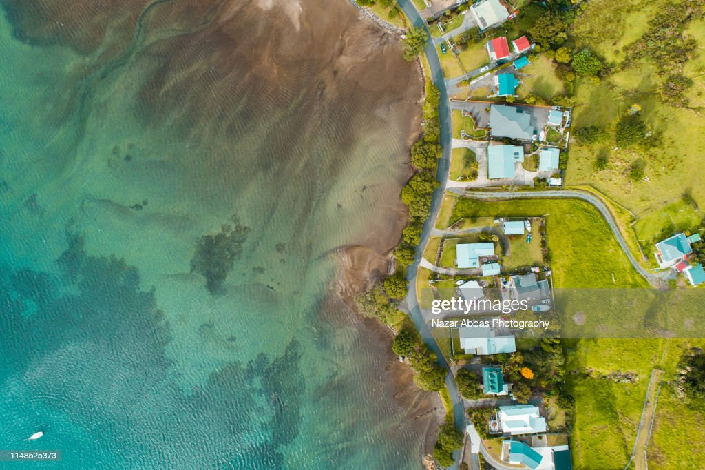 Aerial view of houses along the beach. : Stock Photo