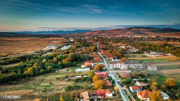 aerial view of houses and architecture in traditional rural romanian village - romania stock pictures, royalty-free photos & images