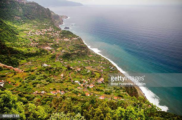 Aerial View Of Houses And Trees On Mountain By Seascape