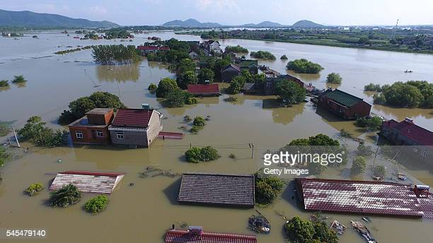 Aerial view of houses being flooded in Dongyun Village of Liqiao Town on July 7 2016 in Xuancheng Anhui Province of China Continuous torrential rain...