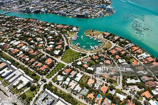 Aerial view of houses civilization, Miami FL
