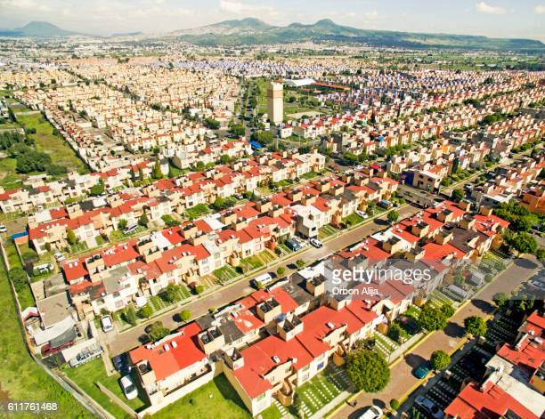 Aerial view of houses in Mexico