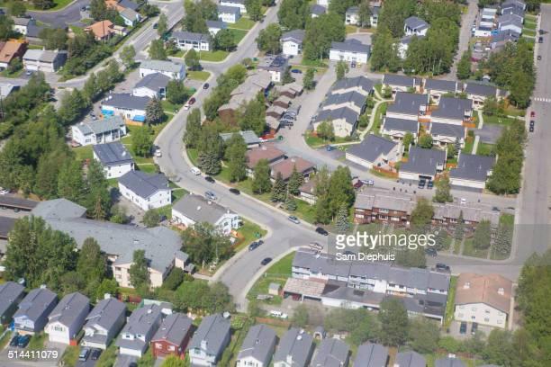 Aerial view of houses in suburban neighborhood