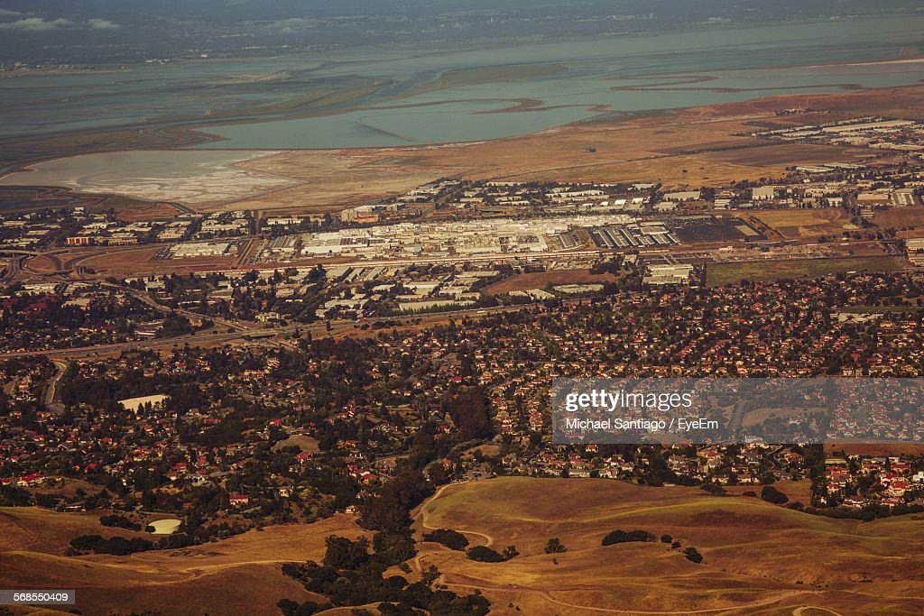 Aerial View Of Houses In Town : Stock Photo