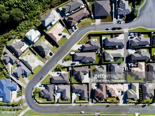 aerial view of houses in upper hutt, wellington, new zealand. - wellington new zealand stock photos and pictures