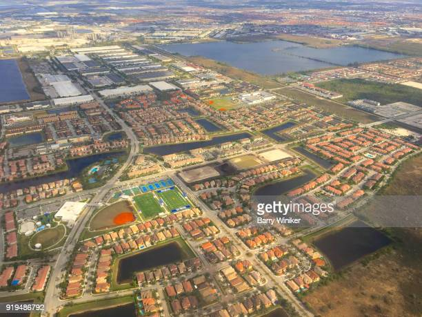 Aerial view of houses, streets and highways of South Florida